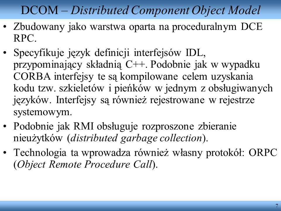 DCOM – Distributed Component Object Model