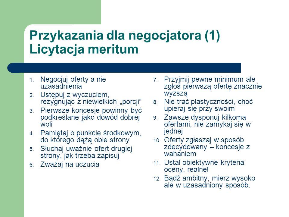 Przykazania dla negocjatora (1) Licytacja meritum