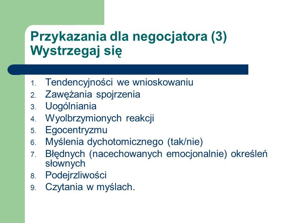 Przykazania dla negocjatora (3) Wystrzegaj się