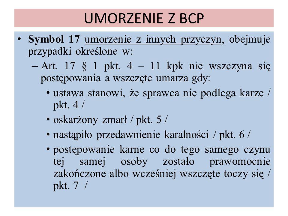 UMORZENIE Z BCP Symbol 17 umorzenie z innych przyczyn, obejmuje przypadki określone w: