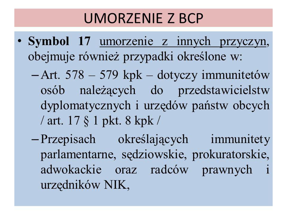 UMORZENIE Z BCP Symbol 17 umorzenie z innych przyczyn, obejmuje również przypadki określone w: