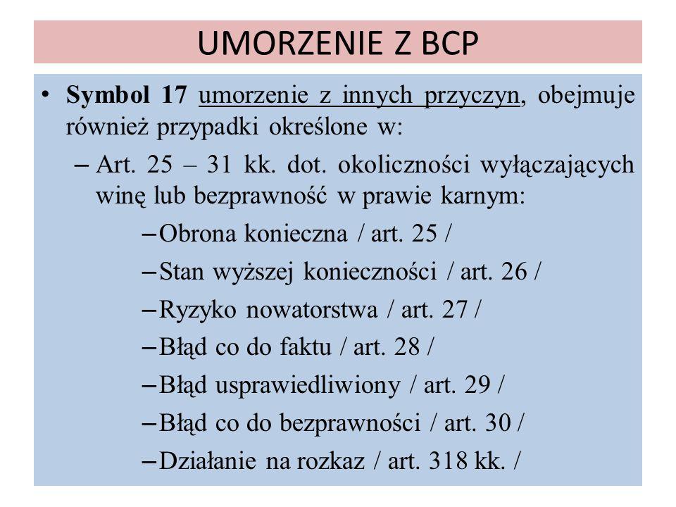 UMORZENIE Z BCPSymbol 17 umorzenie z innych przyczyn, obejmuje również przypadki określone w: