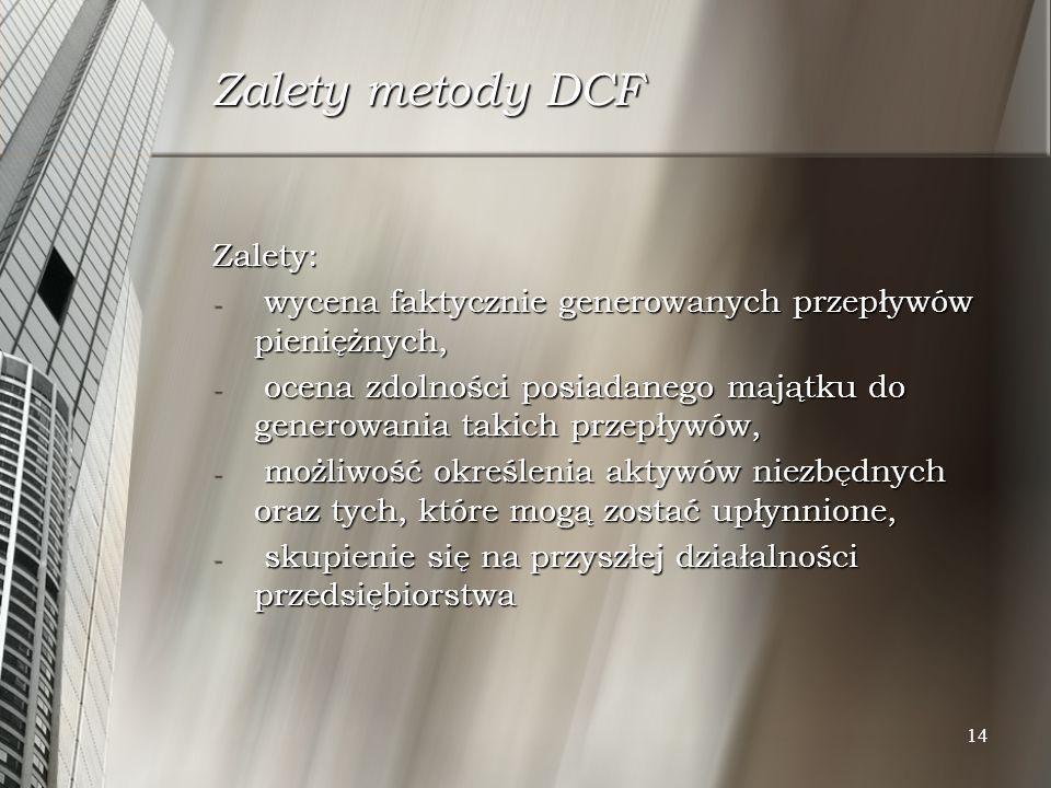 Zalety metody DCF Zalety: