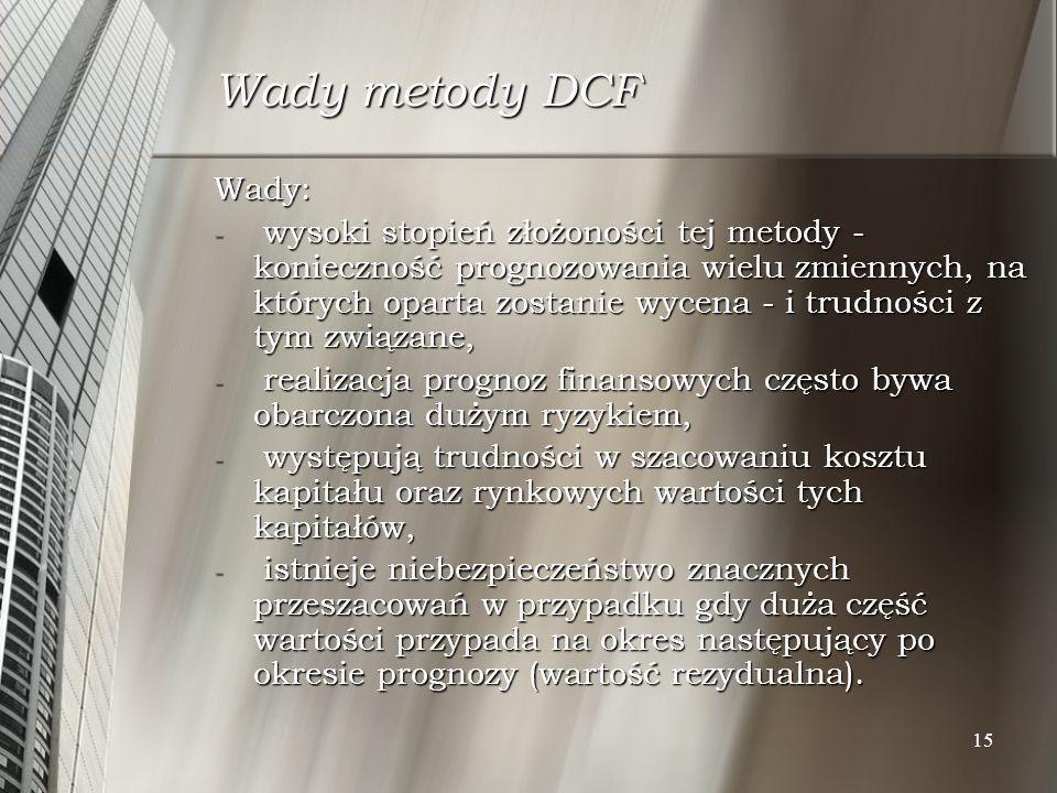 Wady metody DCF Wady: