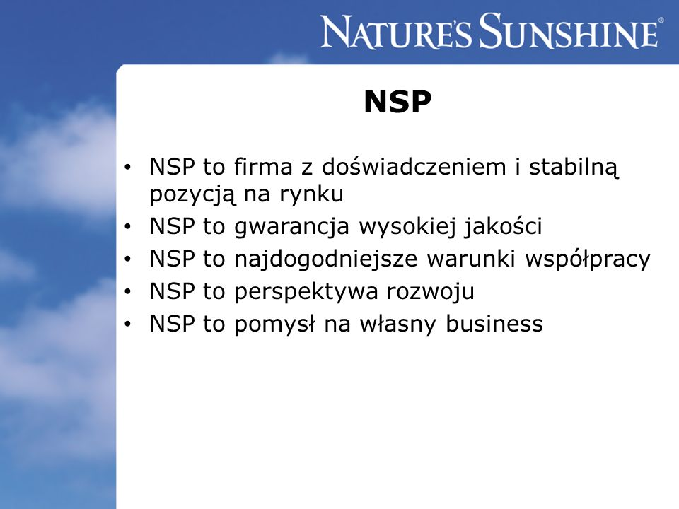 NSP NSP to firma z doświadczeniem i stabilną pozycją na rynku