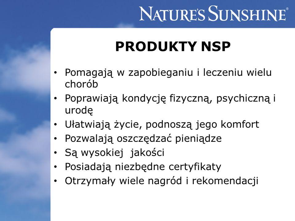 PRODUKTY NSP Pomagają w zapobieganiu i leczeniu wielu chorób