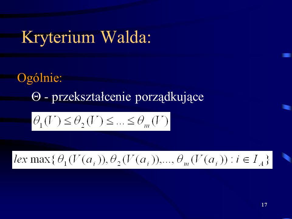 Kryterium Walda: Ogólnie:  - przekształcenie porządkujące