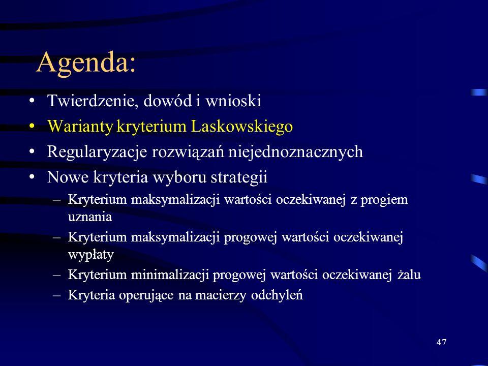 Agenda: Twierdzenie, dowód i wnioski Warianty kryterium Laskowskiego