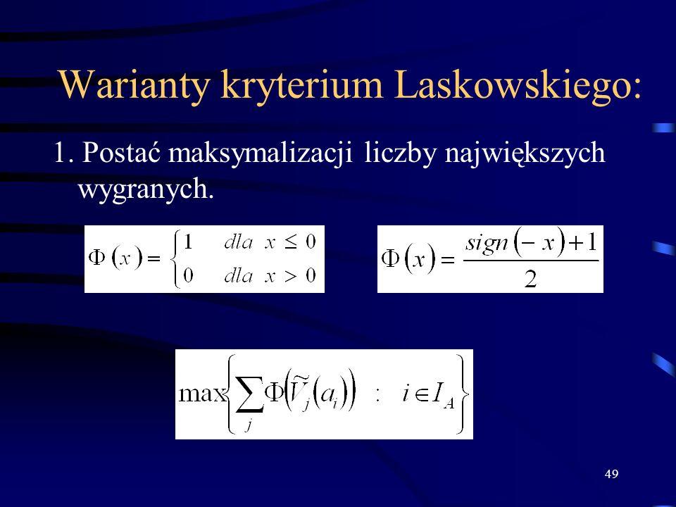 Warianty kryterium Laskowskiego: