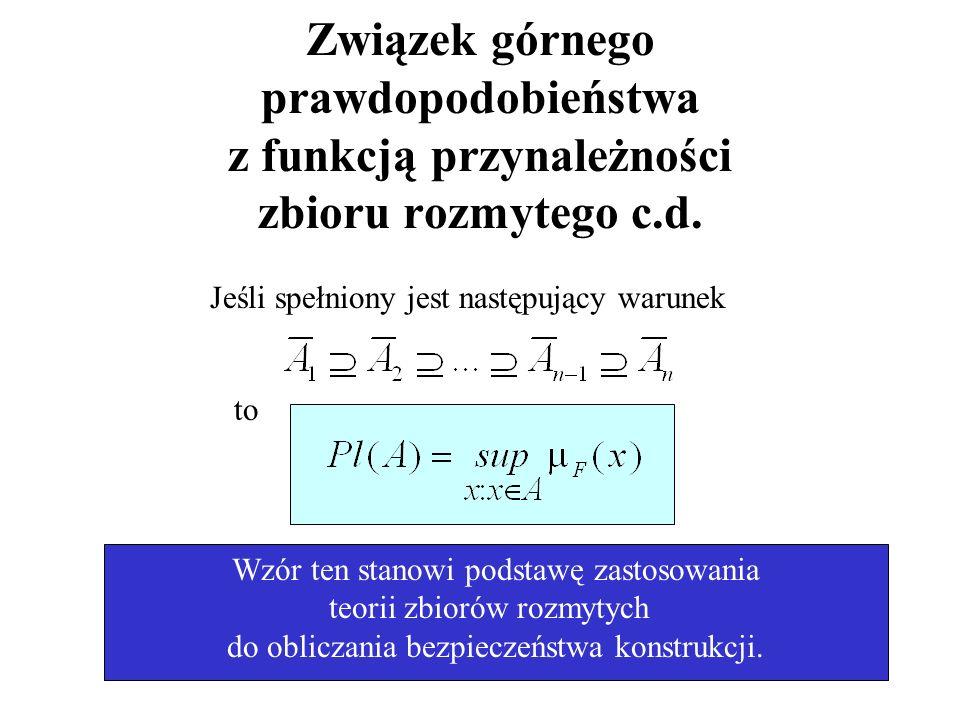 Związek górnego prawdopodobieństwa z funkcją przynależności zbioru rozmytego c.d.
