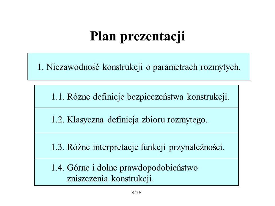 Plan prezentacji 1. Niezawodność konstrukcji o parametrach rozmytych.