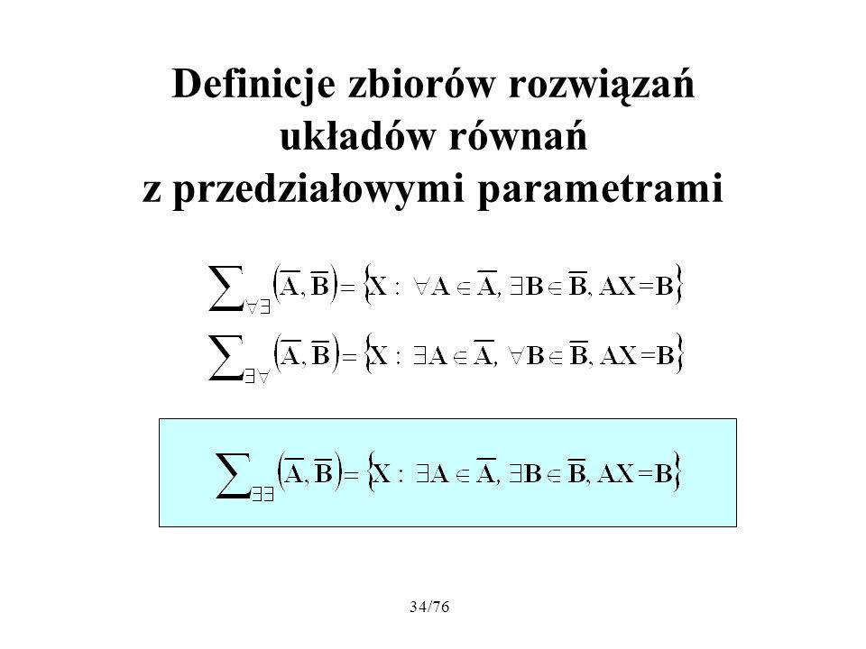 Definicje zbiorów rozwiązań układów równań z przedziałowymi parametrami