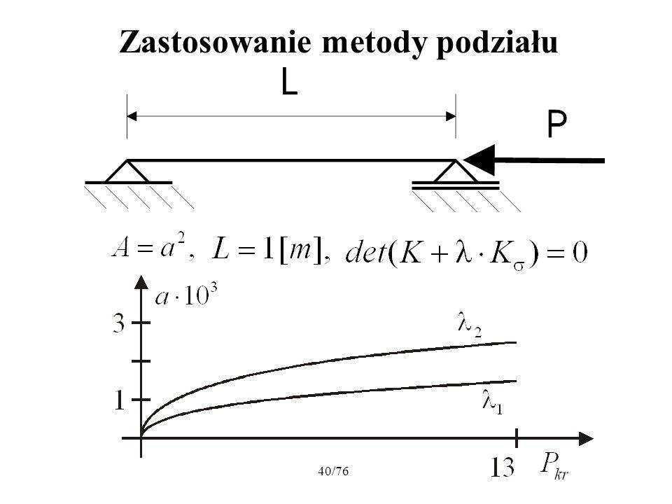 Zastosowanie metody podziału