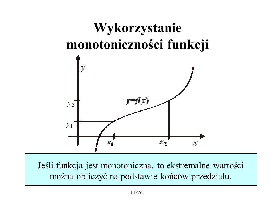 Wykorzystanie monotoniczności funkcji