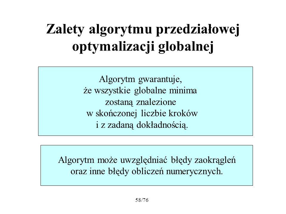 Zalety algorytmu przedziałowej optymalizacji globalnej