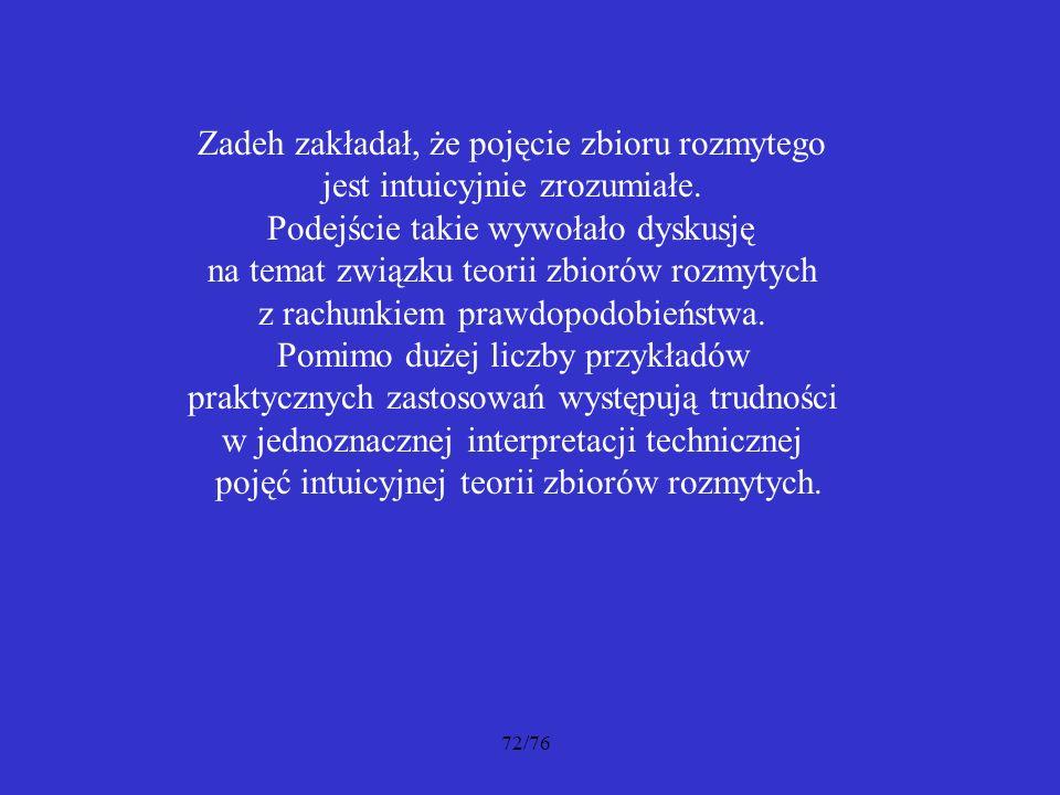 Zadeh zakładał, że pojęcie zbioru rozmytego