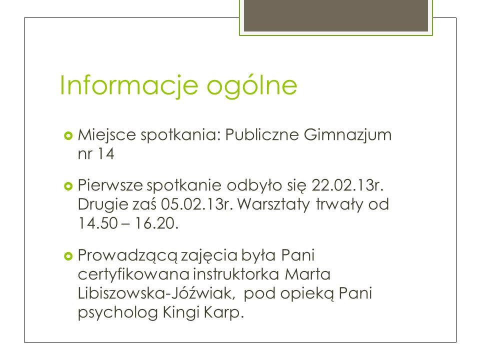 Informacje ogólne Miejsce spotkania: Publiczne Gimnazjum nr 14