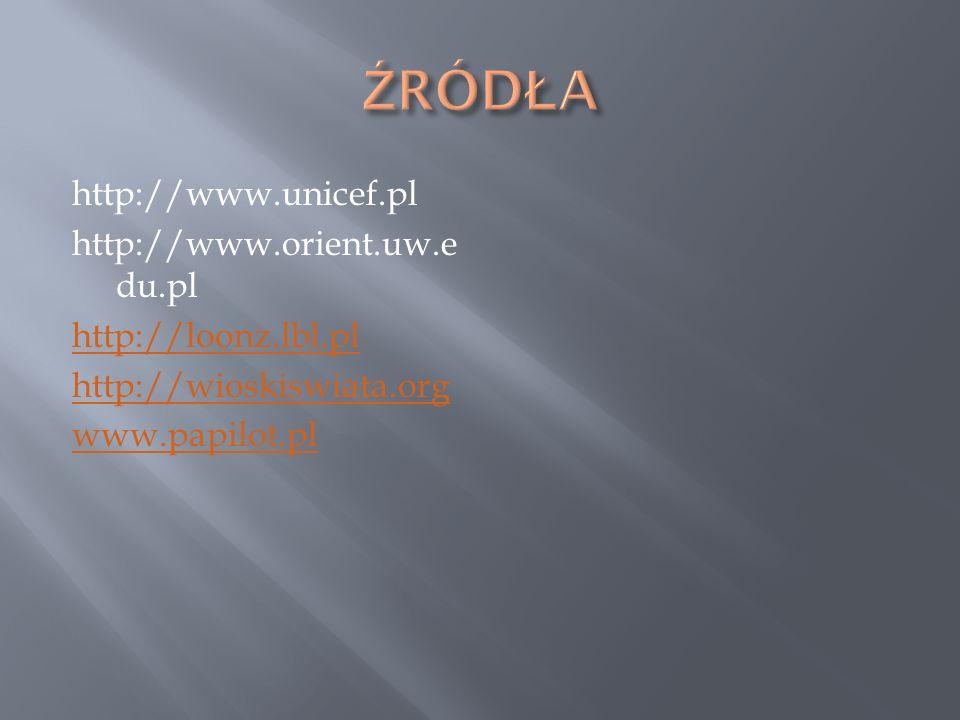 ŹRÓDŁA http://www.unicef.pl http://www.orient.uw.edu.pl