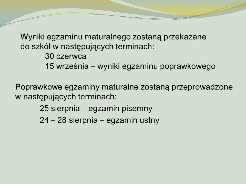 Wyniki egzaminu maturalnego zostaną przekazane do szkół w następujących terminach: 30 czerwca 15 września – wyniki egzaminu poprawkowego