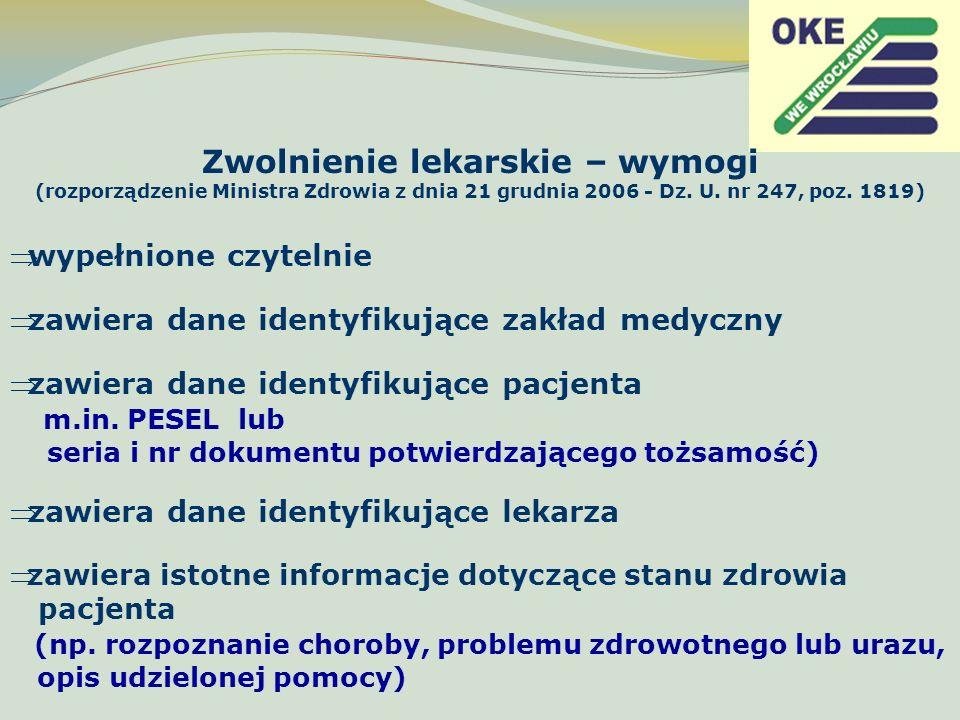 Zwolnienie lekarskie – wymogi (rozporządzenie Ministra Zdrowia z dnia 21 grudnia 2006 - Dz. U. nr 247, poz. 1819)