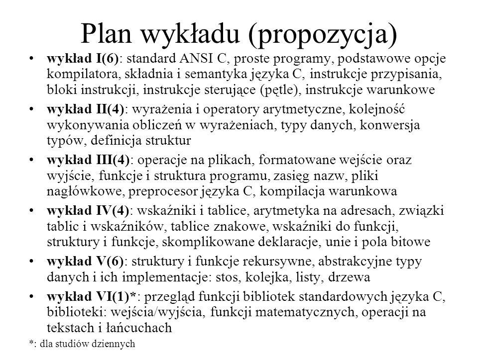 Plan wykładu (propozycja)