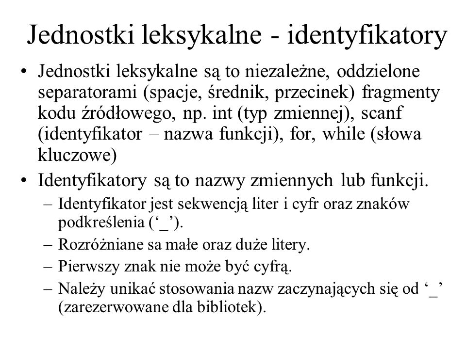 Jednostki leksykalne - identyfikatory