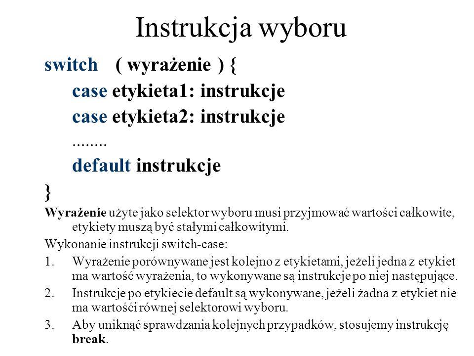 Instrukcja wyboru switch ( wyrażenie ) { case etykieta1: instrukcje