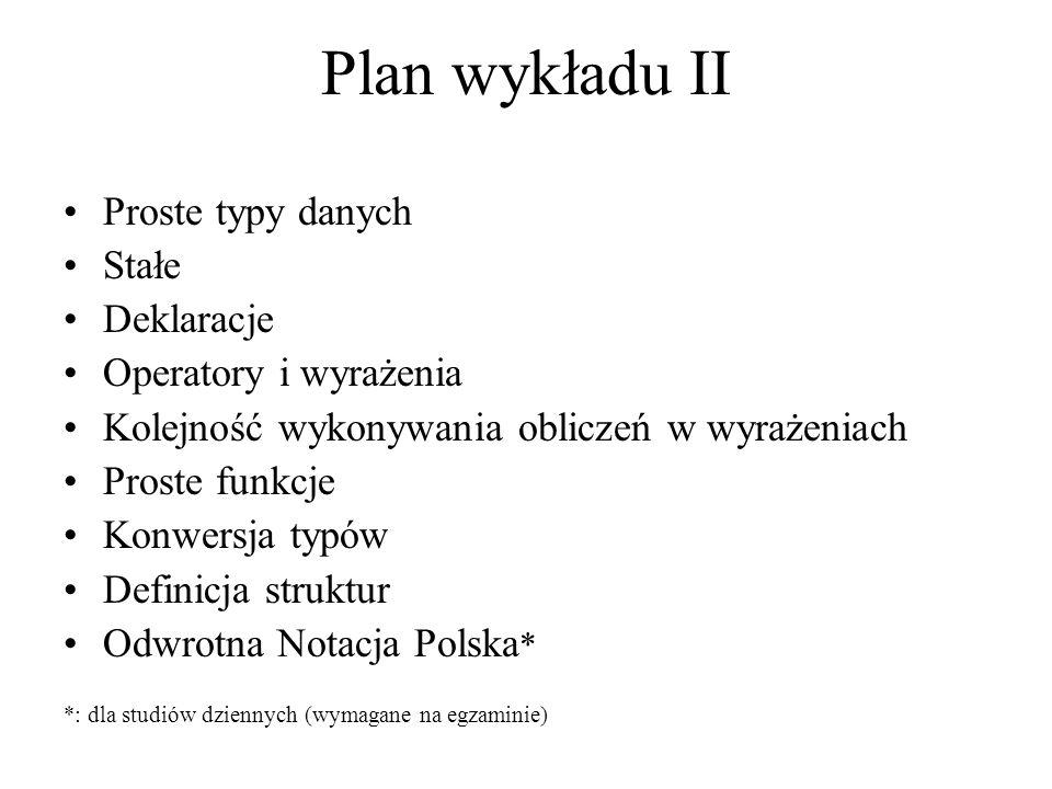 Plan wykładu II Proste typy danych Stałe Deklaracje