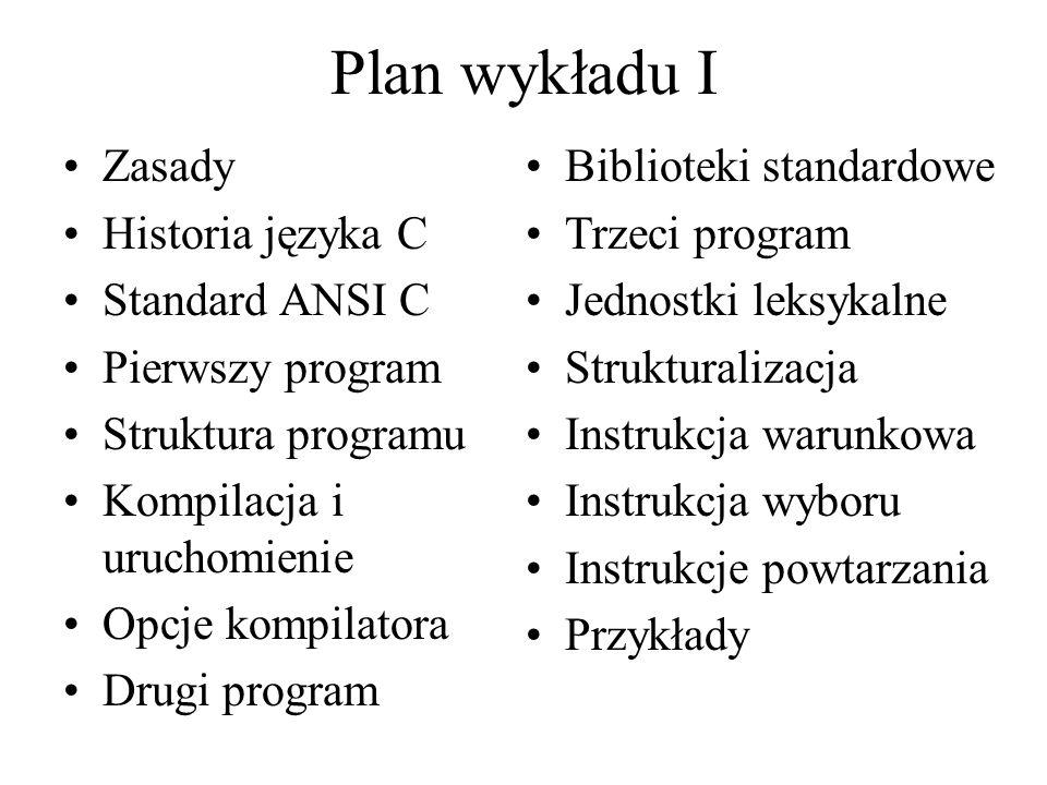 Plan wykładu I Zasady Historia języka C Standard ANSI C