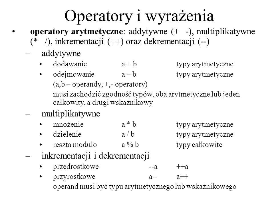 Operatory i wyrażenia operatory arytmetyczne: addytywne (+ -), multiplikatywne (* /), inkrementacji (++) oraz dekrementacji (--)