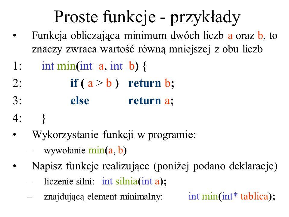 Proste funkcje - przykłady