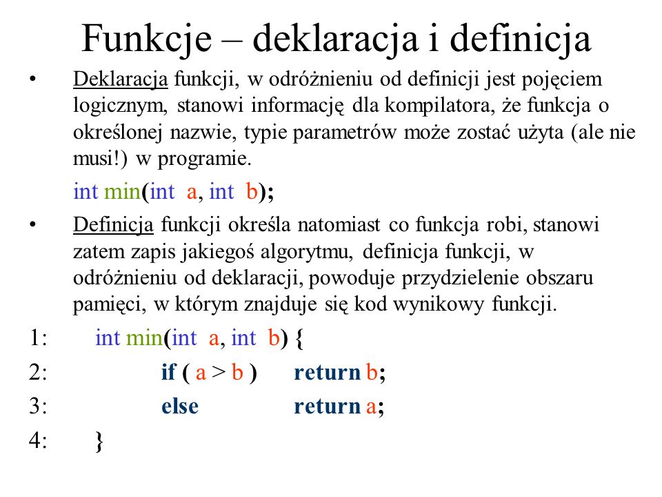 Funkcje – deklaracja i definicja