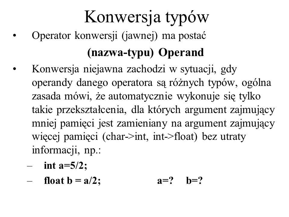 Konwersja typów (nazwa-typu) Operand