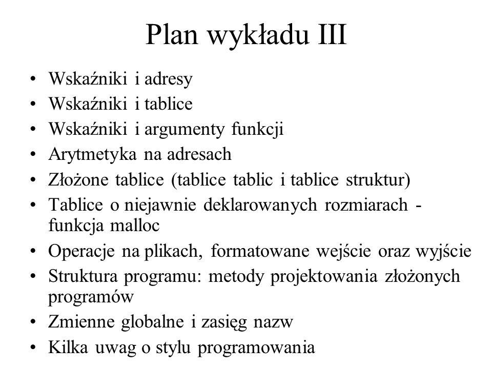 Plan wykładu III Wskaźniki i adresy Wskaźniki i tablice