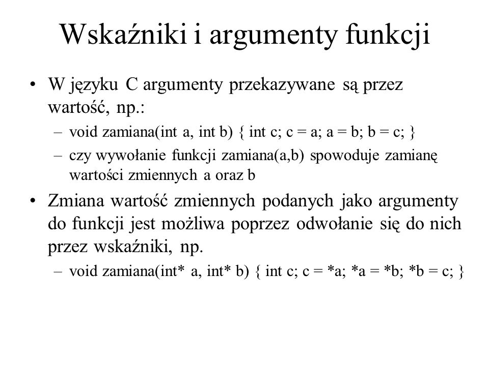 Wskaźniki i argumenty funkcji