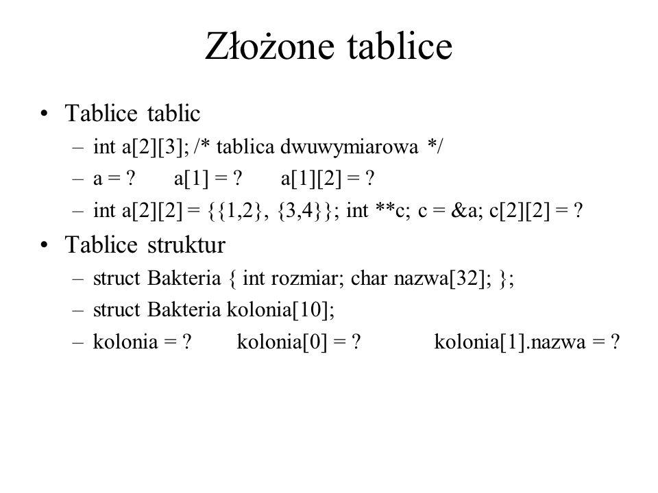 Złożone tablice Tablice tablic Tablice struktur