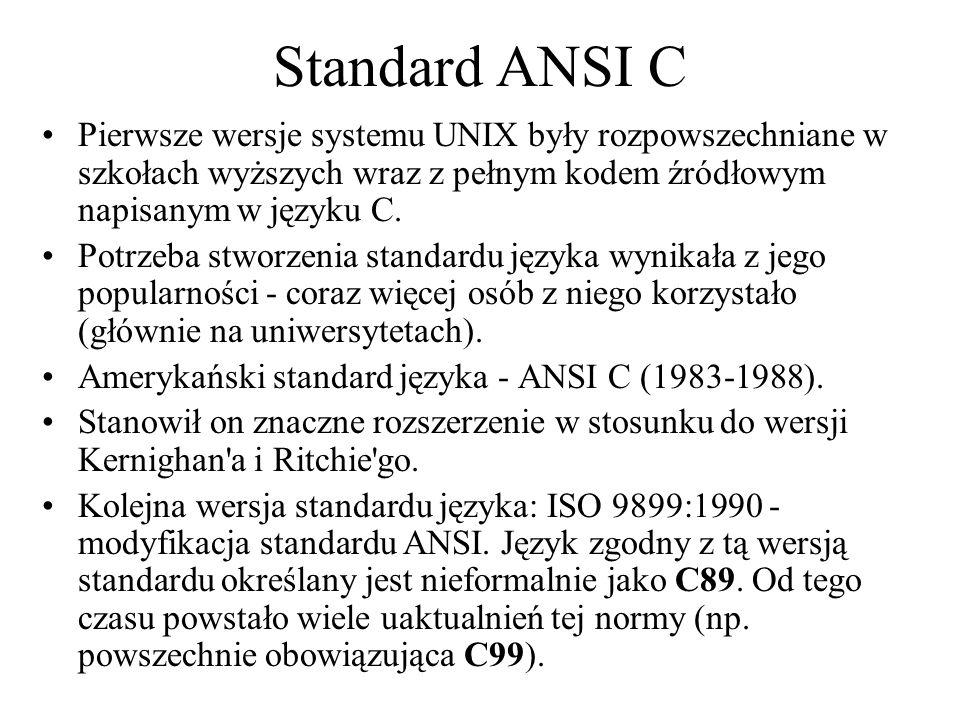 Standard ANSI C Pierwsze wersje systemu UNIX były rozpowszechniane w szkołach wyższych wraz z pełnym kodem źródłowym napisanym w języku C.