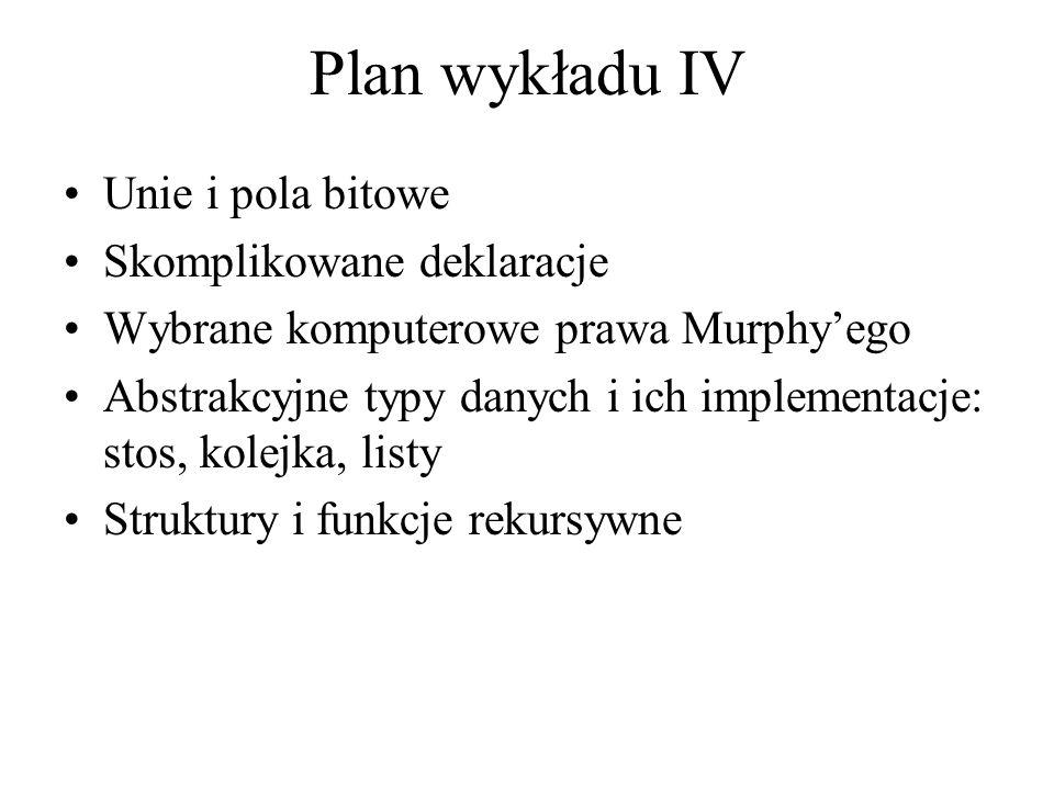 Plan wykładu IV Unie i pola bitowe Skomplikowane deklaracje