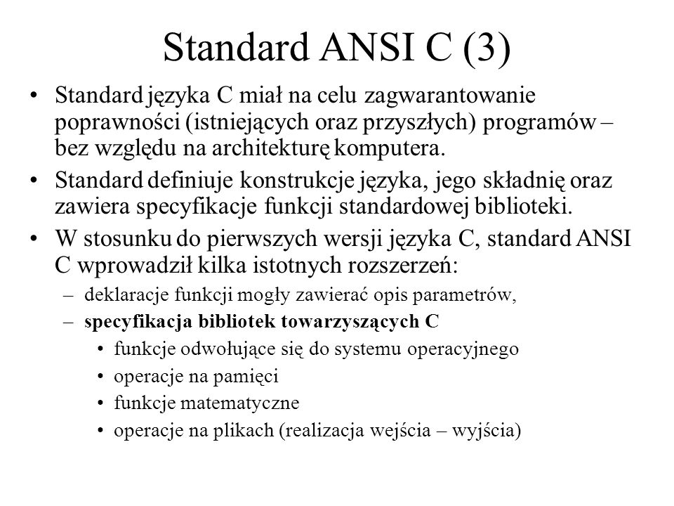 Standard ANSI C (3)