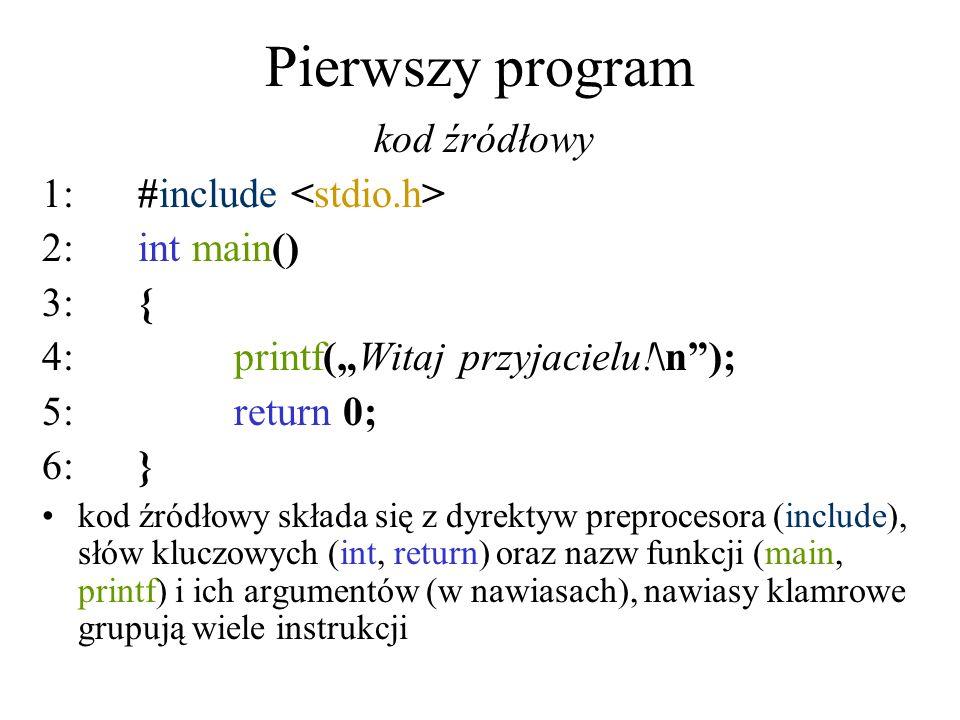 Pierwszy program kod źródłowy 1: #include <stdio.h>