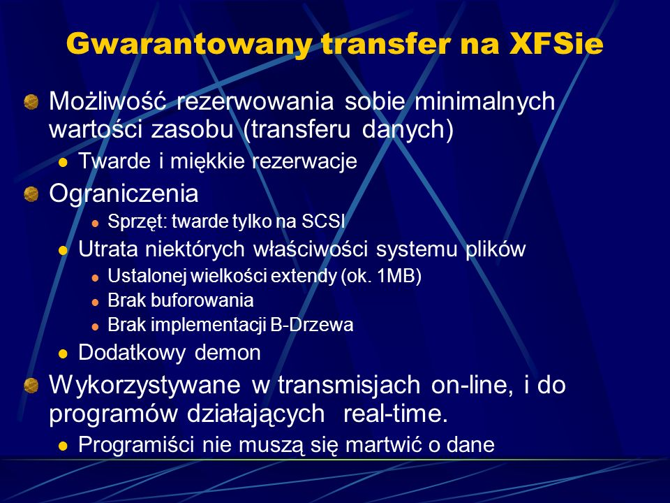 Gwarantowany transfer na XFSie