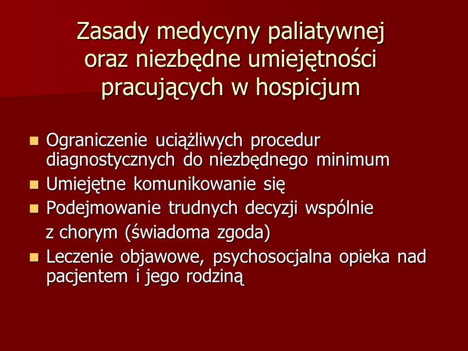 Zasady medycyny paliatywnej oraz niezbędne umiejętności pracujących w hospicjum