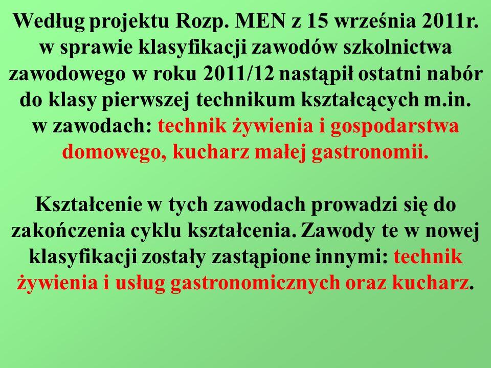 Według projektu Rozp. MEN z 15 września 2011r