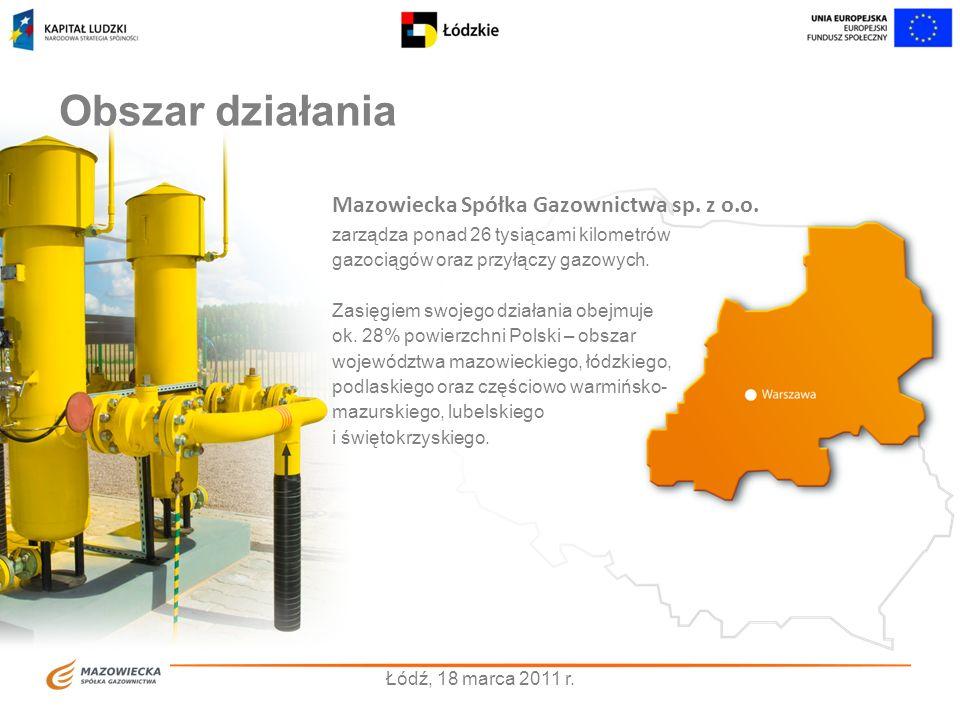 Obszar działania Mazowiecka Spółka Gazownictwa sp. z o.o.