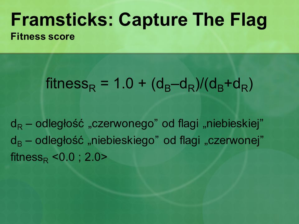Framsticks: Capture The Flag Fitness score