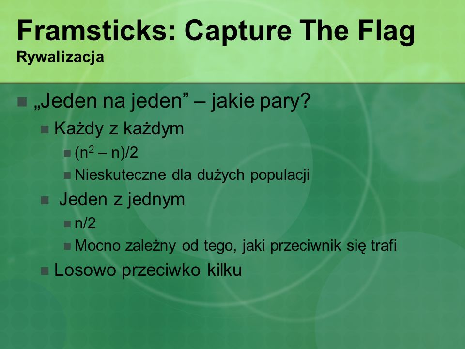 Framsticks: Capture The Flag Rywalizacja