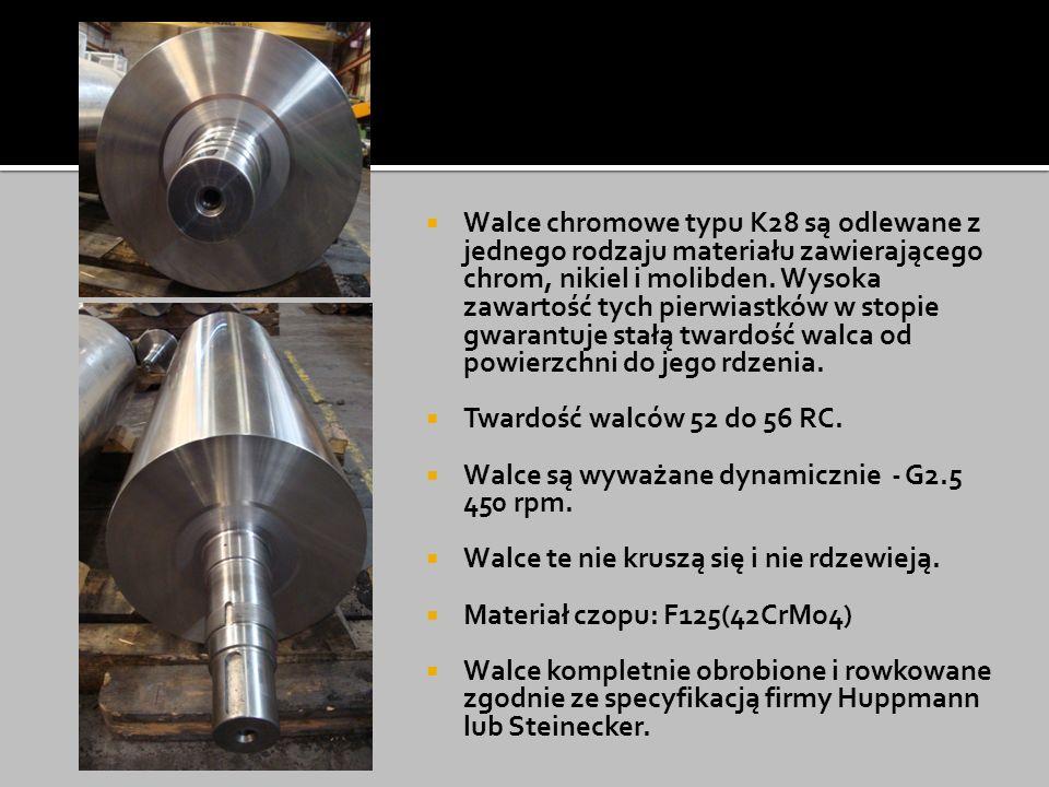 Walce chromowe typu K28 są odlewane z jednego rodzaju materiału zawierającego chrom, nikiel i molibden. Wysoka zawartość tych pierwiastków w stopie gwarantuje stałą twardość walca od powierzchni do jego rdzenia.