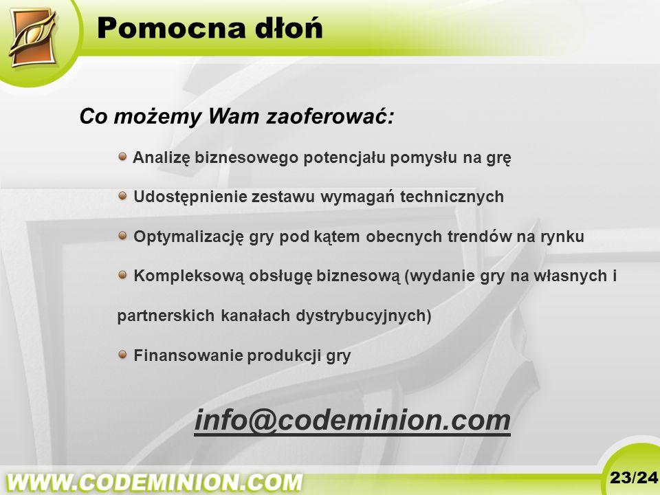 Pomocna dłoń info@codeminion.com Co możemy Wam zaoferować: