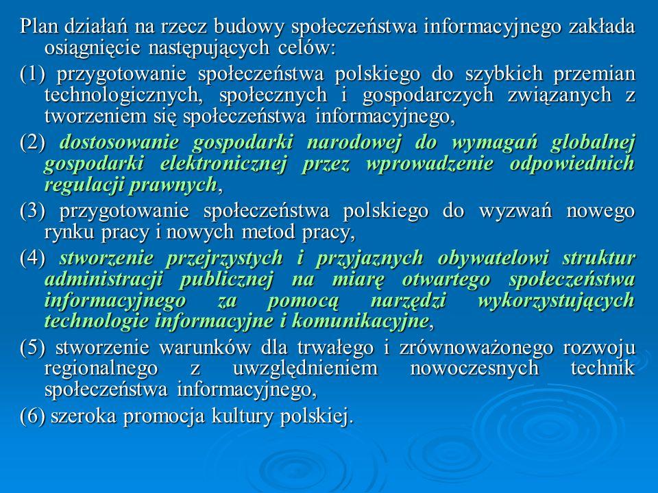 Plan działań na rzecz budowy społeczeństwa informacyjnego zakłada osiągnięcie następujących celów: