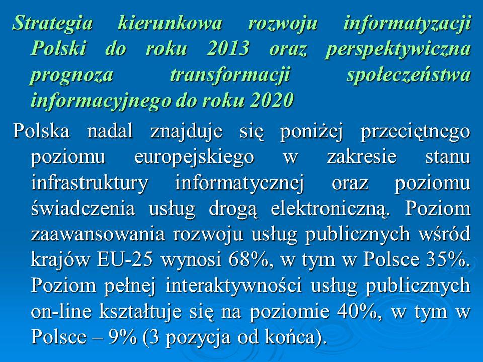Strategia kierunkowa rozwoju informatyzacji Polski do roku 2013 oraz perspektywiczna prognoza transformacji społeczeństwa informacyjnego do roku 2020